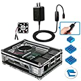 Miuzei Raspberry Pi 3 B+ Case with Fan, 3 Pcs Heatsinks, 2.5A Power Supply for Raspberry Pi 3 Model B+, Compatible with Raspberry Pi 3 Model B, Raspberry Pi 2 Model B