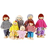 Arshiner 7-Piece Poseable Wooden Doll Family Pretend Play Mini People Figures for Dollhouse