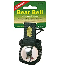 Bear Bell 125 Attaches to clothing or pack with a Velcro strap. Movement causes a steady ringing to warn animals of your presence. Magnet in bag eliminates noise.