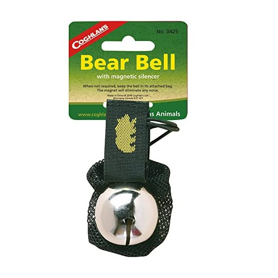 Bear Bell 1 Attaches to clothing or pack with a Velcro strap. Movement causes a steady ringing to warn animals of your presence. Magnet in bag eliminates noise.