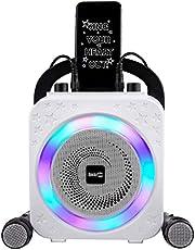 RockJam Party Karaoke Machine With Bluetooth, 10Watt Speaker & Two Microphones, Black (RJPS150-BK)