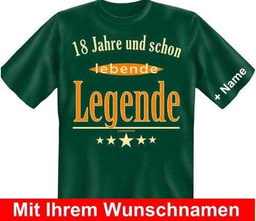 T-Shirt mit Wunschname - 18 Jahre und schon lebende Legende - Lustiges Sprüche Shirt als Geschenk zum achtzehnten Geburtstag
