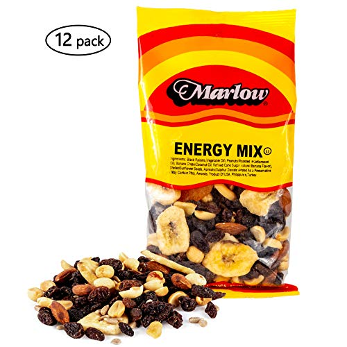 Energy Trail Mix, 12 Pack - Healthy Nuts, Seeds and Dried Fruit - All Natural and Low Calorie Nut Snack Pack - Tasty, Vegetarian and Kosher - 4 Ounce Bags - By Marlow