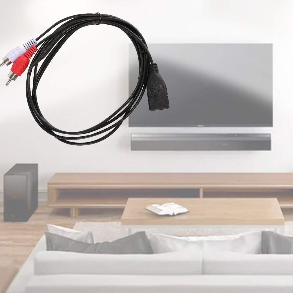 Negro 5Ft USB A Hembra Sockrt A 2 RCA Macho Enchufe Cable De Cable De Extensi/ón De Audio Y Video 1.5M