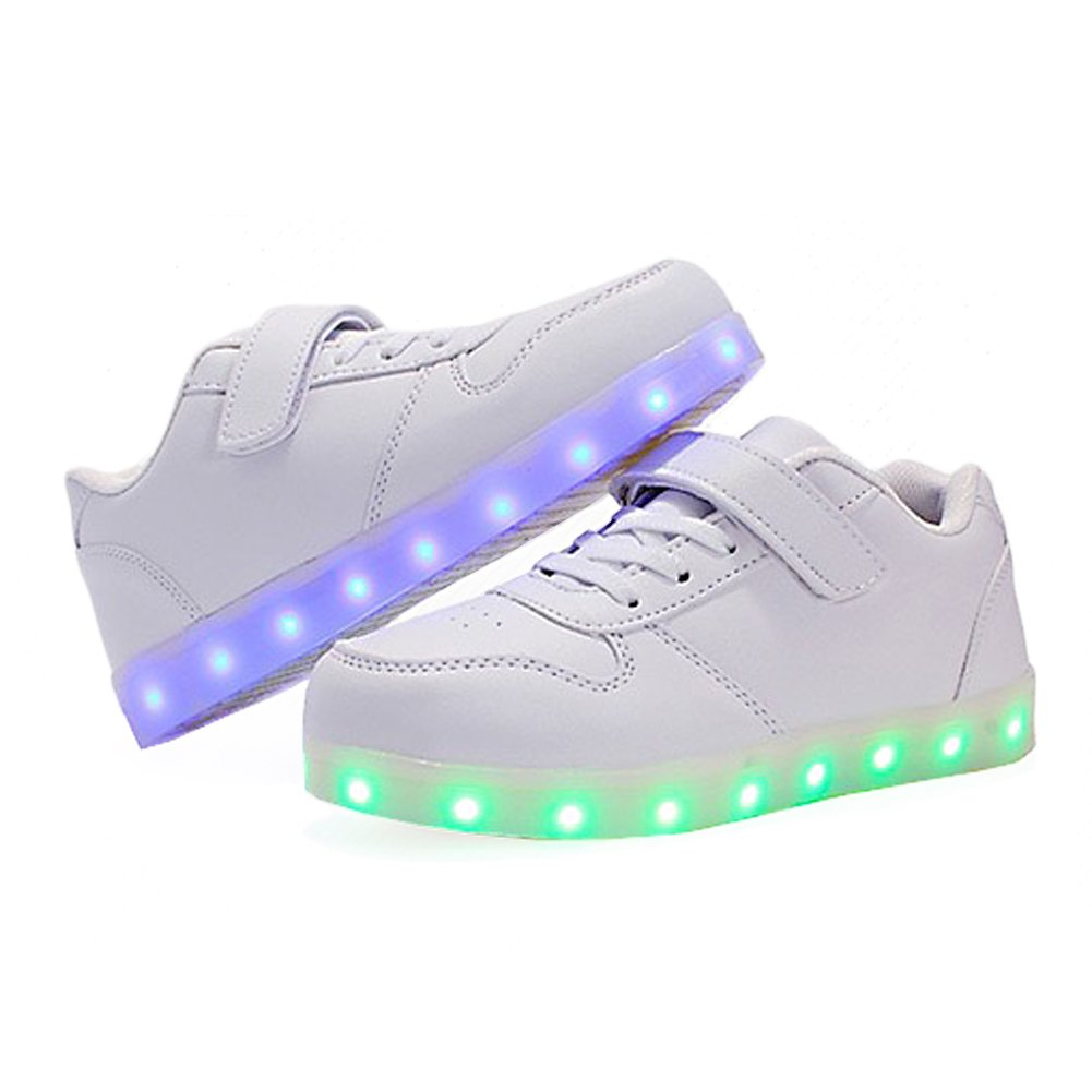 kealux Shiny Night USB Charging 7 Colors Lace Up LED Shoes Low Top Sport Sneaker