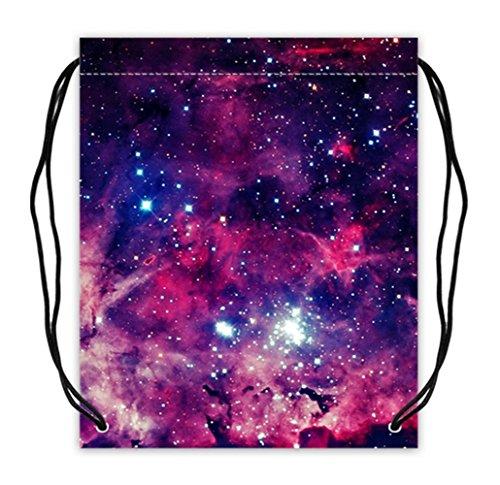 Colorful Galaxy Print Fashionable Polyester Fabric Basketball Drawstring Bags Drawstring Tote