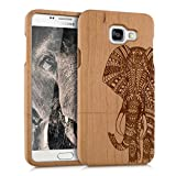 kwmobile Natural wood case with Design elephant pattern for the Samsung Galaxy A5 (2016) in cherrywood light brown