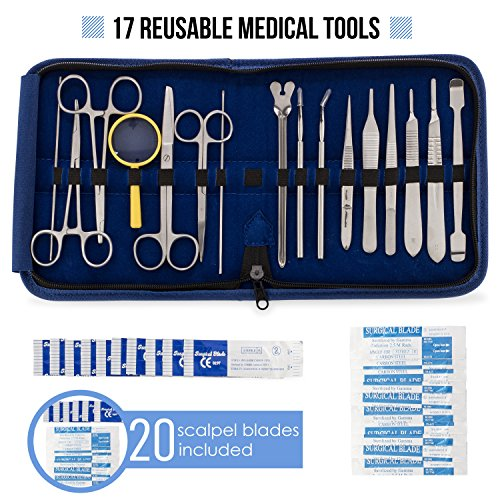 Advanced Dissection Kit - 37 Pieces Total. High Grade Stainless Steel Instruments Perfect for Anatomy, Biology, Botany, Veterinary and Medical Students - by Poly (Dissection Equipment)