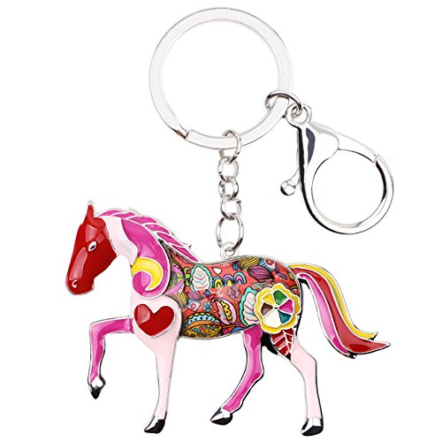 Enamel Metal Horse Key chains For Women Girls Gifts Car Purse Animal Pendant Charms toy (Red)