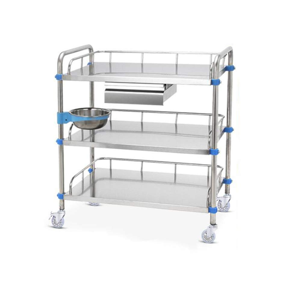 ZHFHA Stainless Steel Trolley - Medical Tray Trolley Clinic Beauty 3-Layer Trolley Care Dressing Mobile Ambulance Dressing with Drawer Trolley (Size : 40X60X86cm)