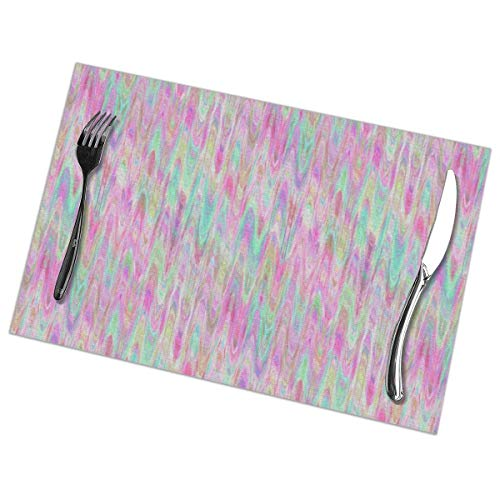 (Jia3261 Marbled Paper Pink Mint Sherbet Watercolor Table Placemats for Dining Table,Washable Table mats Heat Resistant(12x18 inch) Set of 6)