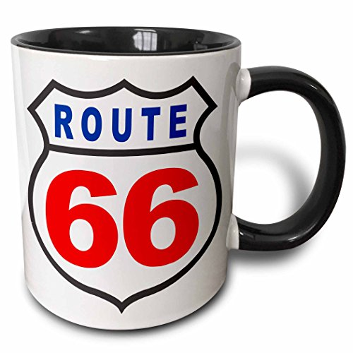 Route 66 Mugs (3dRose mug_124193_4 Red White and Blue Route 66 Two Tone Black Mug, 11 oz, Black/White)