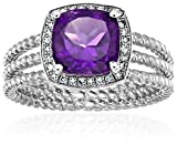 Sterling Silver African Amethyst And Created White Sapphire Cushion Halo Engagement Ring, Size 7
