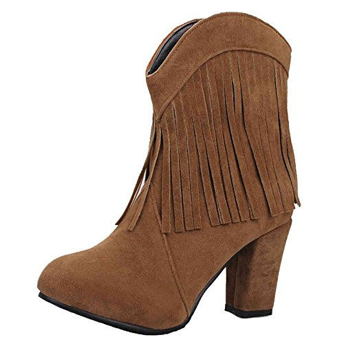 SJJH Women Roman Boots with Large Size and High Chunky Heel Women Cowboy Style Tassel Boots Brown
