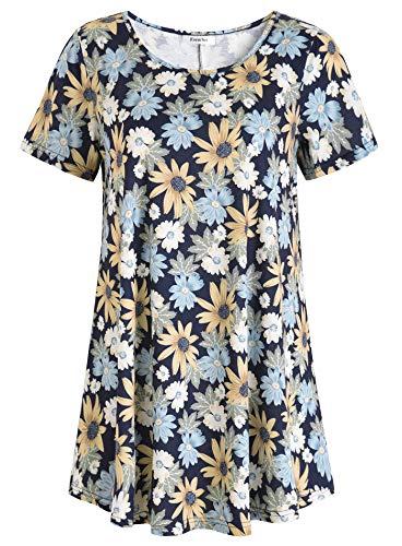 Esenchel Women's Short Sleeve Patterned Tunic Top XL Sun Flower