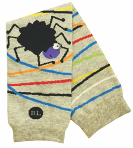 BabyLegs Jumping Spider Leg Warmers, Grey/Black, One Size (Lightweight Mesh) BL13-0038