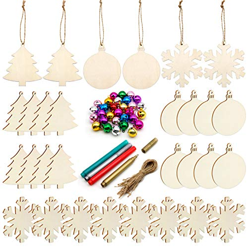 Unfinished Christmas Wooden Ornaments,30PCS Christmas Tree Ornaments 3 Style Natural Wood Slices for Kids DIY Art Crafts, 30pcs Jute Twine 30 Colorful Bells Christmas Gift Decoration]()