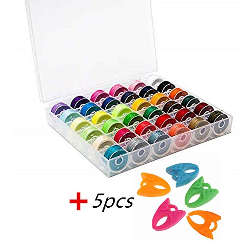 YEQIN 36Pcs Bobbins and Sewing Threads with Bobbin Case and Bobbin Clamps for Multiple Sewing Machine, Pre-Wound Bobbins Set Standard Size and Assorted Colors for Brother, BabyLock, Janome, Elna, Sing