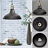 Industrial Ceiling Light, SUN RUN Creative Retro Light Fixture Chandeliers Vintage Metal Pendant Lamp with Painted Finish for Dining Room Kitchen, Black