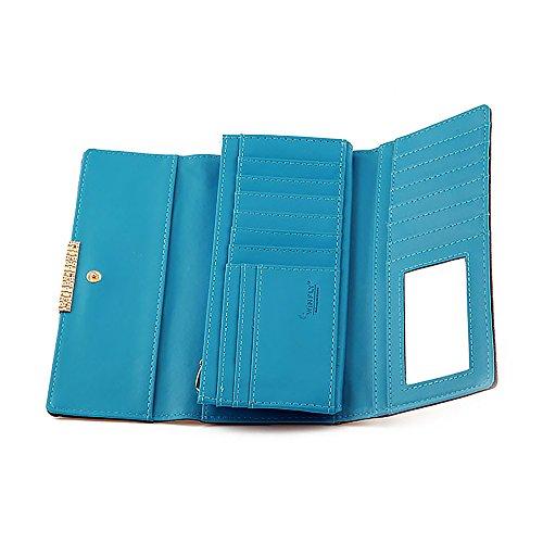 donna da lunga pelle Ya carta blu da di a ante organizzatore con Borsa Jin in tre portafoglio multi w7OgRnxqF