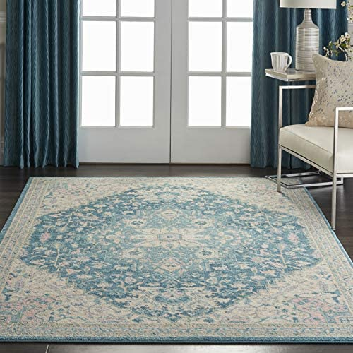 Nourison TRA07 Tranquil Persian Vintage Ivory/Turquoise Area Rug 6' X 9'