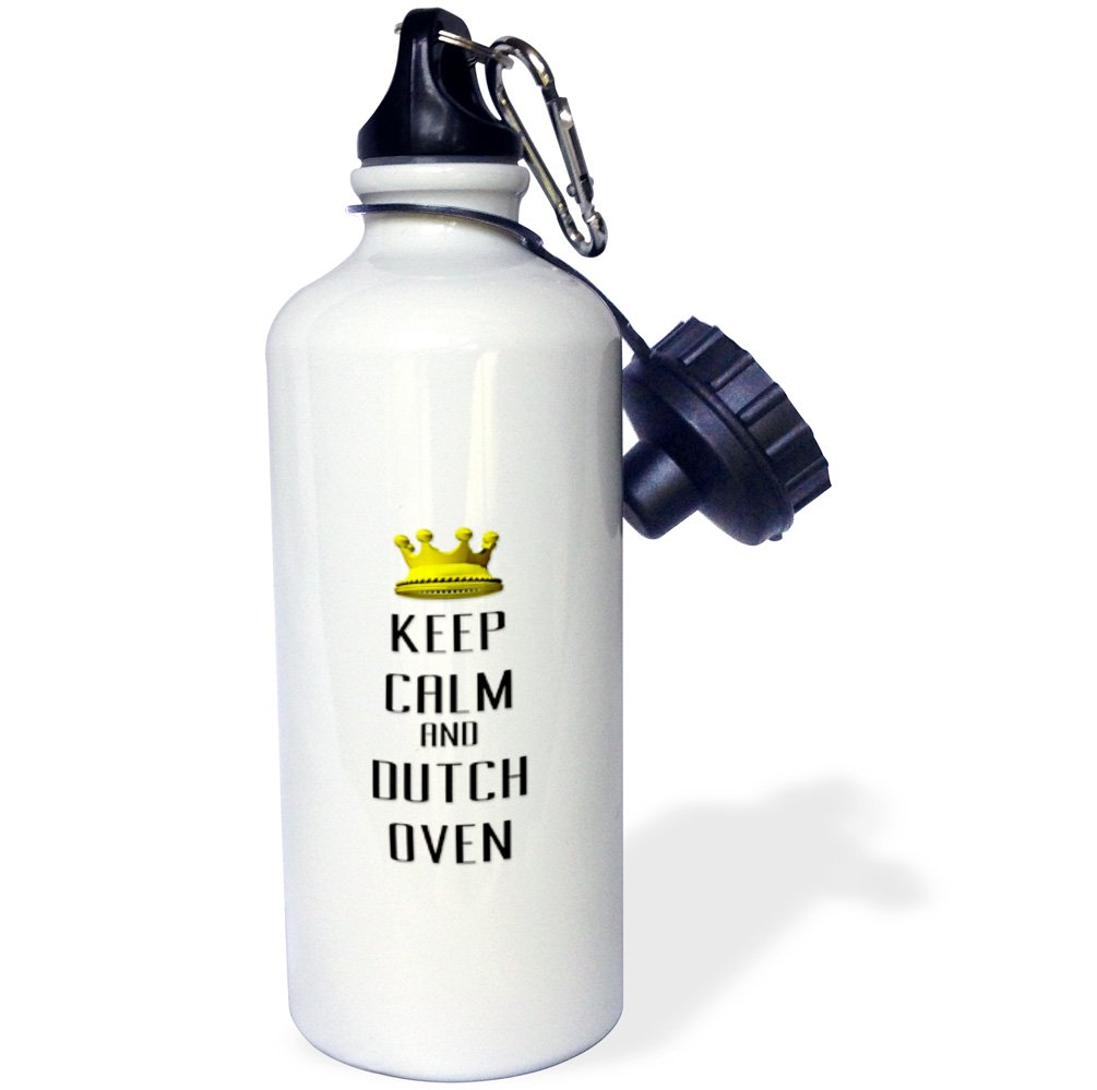 3dRose wb_120813_1'Gold Crown Keep Calm And Dutch Oven' Sports Water Bottle, 21 oz, White