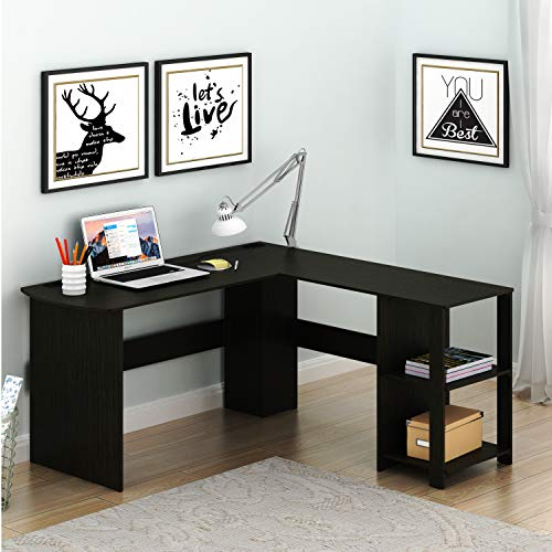 (SHW L-Shaped Home Office Wood Corner Desk, Espresso)