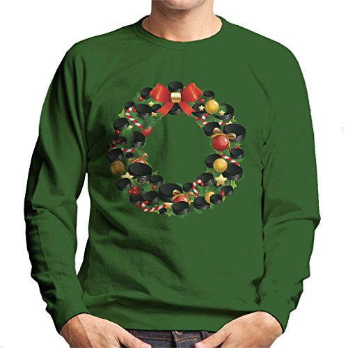 Hockey Wreath (Coto7 Christmas Ice Hockey Puck Wreath Men's Sweatshirt)