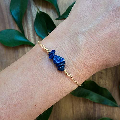 Lapis lazuli bead bar crystal bracelet in 14k gold fill - 6