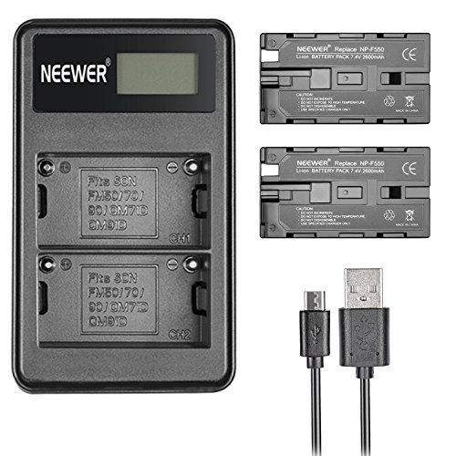 Neewer 2 Pieces 2600mAh Replacement Li-ion Battery for Sony