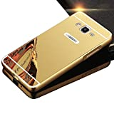 Samsung Galaxy J3 (2016) Case, Sunroyal Acrylic Plastic Removable Mirror Plane PC Cover and Hard Metal Case for Galaxy SM-J310 / SM-J310x / SM-J320 Gold