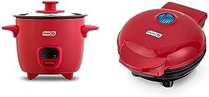 Dash DRCM200GBRD04 Mini Rice Cooker Steamer, Red & Mini Maker Portable Grill Machine + Panini Press with Recipe Guide - Red