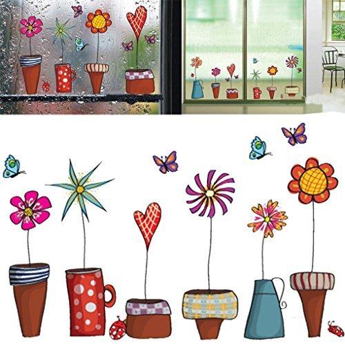 Money coming shop Cute Cartoon Flower Butterfly wall Stickers DIY Decal Window glass Wall decor Home Decoration kids children room (Cute Halloween Wallpaper Iphone)