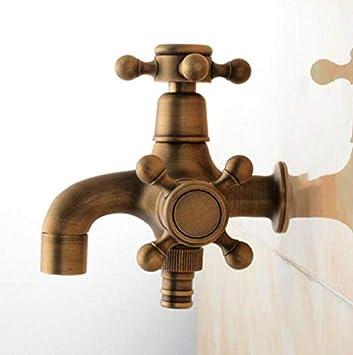Grifo Tap New Bronce Antiguo Latón Total Doble Uso Lavadora Grifo Jardín Y Baño Grifo De Lavabo Montado En La Pared Con Manija Cruzada: Amazon.es: Bricolaje y herramientas