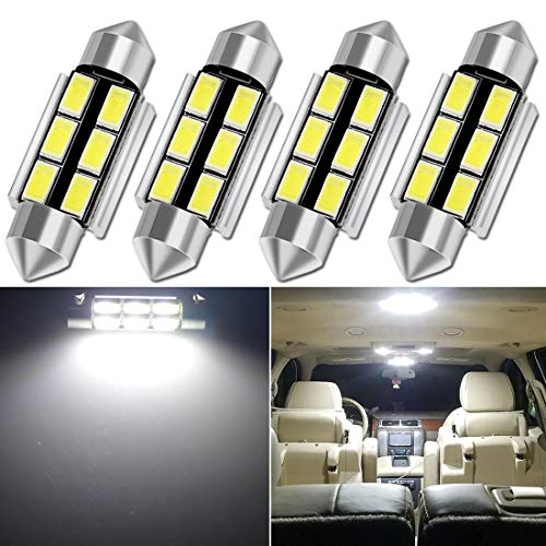 TORIBIO 42mm LED Bulbs White Super Bright LED Interior Car Lights Error Free CANBUS 6-SMD 5730 Chipsets Pack 4