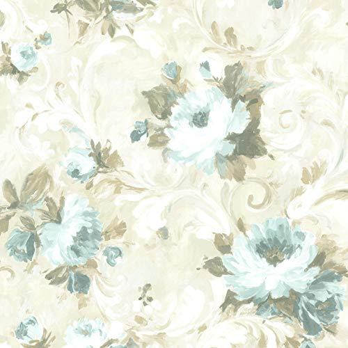 (Beacon House 2605-21606 Jasmine Floral Scroll Wallpaper, Blue)