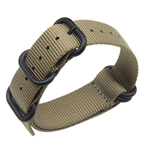 22mm Khaki Deluxe Premium Nato Style Sturdy Exotic Soft Nylon Sport Men's Wrist Watch Band Wristband Ballistic Mens Watch
