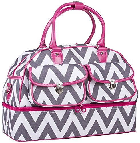 "Price comparison product image Ever Moda Fashion Pattern Print Duffle Bag, 18"", Chevron Grey w/Fuschia Trim"