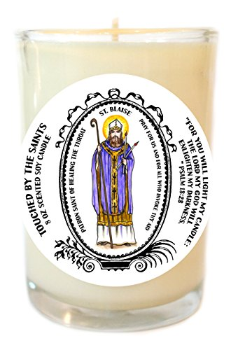 Saint Blaise Patron of Healing the Throat 8 Oz Scented Soy Glass Prayer Candle by Touched By The Saints
