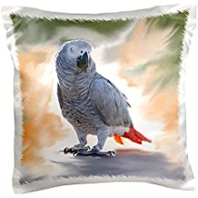 3dRose pc_4030_1 African Grey Parrot-Pillow Case, 16 by 16""