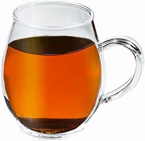 Crystal Clear Glass Coffee/Tea Mug by Sun's Tea (Tm)   16 oz   Borosilicate - Glasses w Big Handle   Microwave and Dishwasher Safe