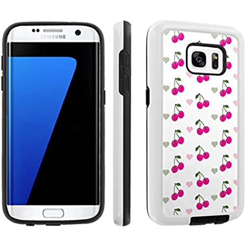 [Galaxy S7] [5.1 Screen] Armor Case [Skinguardz] [White/Black] Shock Absorbent Hybrid - [White Pink Cherry] for Sales