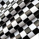 BESTERY Self Adhesive White Black Mosaic Backsplash Tiles Gloss Vinyl Film Kitchen Countertop Peel Stick Wallpaper Decal 17.7inx79in Roll