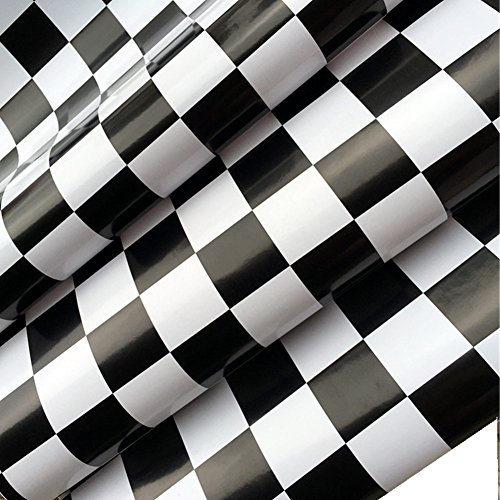 BESTERY Self Adhesive White Black Mosaic Backsplash Tiles Gloss Vinyl Film Kitchen Countertop Peel Stick Wallpaper Decal 17.7inx79in Roll