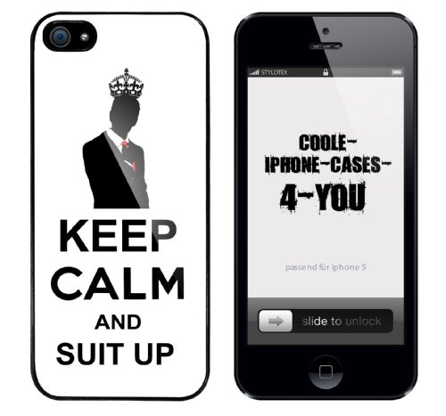 Iphone 5 Case Keep Calm and Suit Up Rahmen schwarz