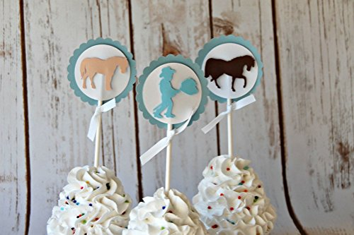 Chic Cowboy Silhouette Birthday Party Cupcake Toppers (set of (Silhouette Of Cowboy)