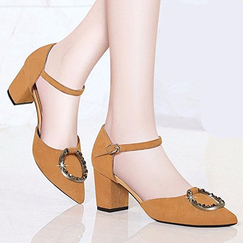 Mouth Heels All KPHY Buckle Black Sexy Shoes Spring Word Shallow Match High 6Cm Shoes New Crude Pointed With With Women w0qqIPxAR