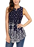 Ecrocoo Women Sleeveless Top Casual Boho Floral Print Swing Tunic Tank Top Plus Size Navy Large