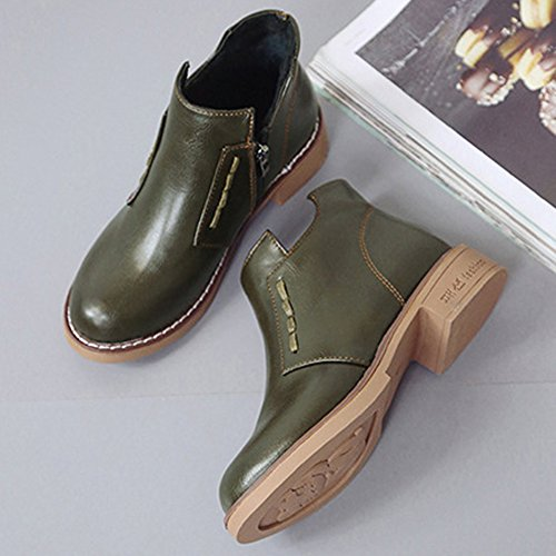 Year Low Green Classic Style Pull Snow On New Winter Retro BERTERI Women's Martin Heel Type Boot Army Hqw8R5na