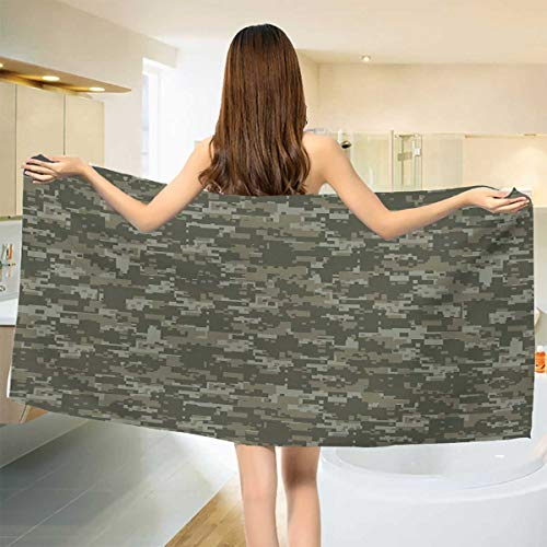 Chaneyhouse Camouflage,Bath Towel,Monochrome Attire Pattern Concealing Hiding in The Woods Themed Print,Bathroom Towels,Army Green Sage Green Size: W 31.5'' x L 63'' by Chaneyhouse (Image #1)